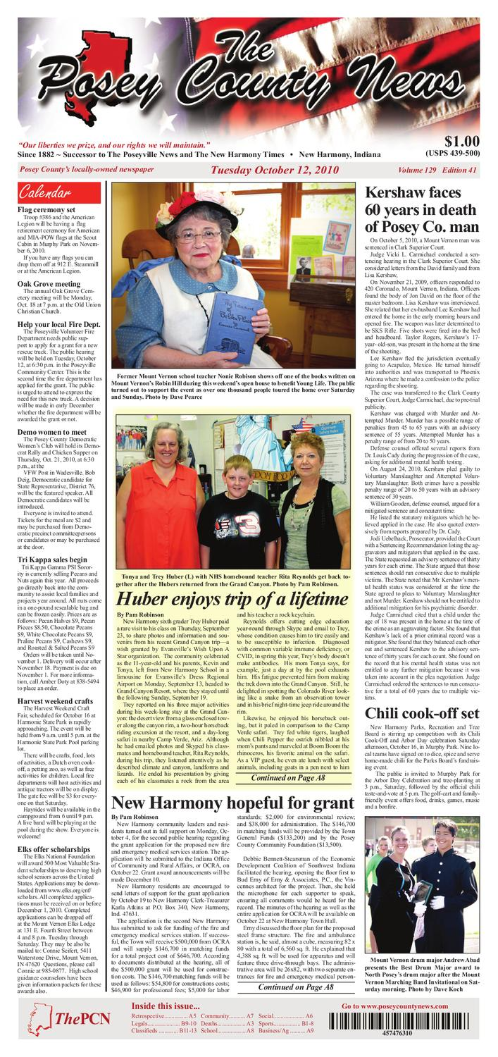 The Posey County News - October 12th, 2010 Issue by The Posey County News -  issuu