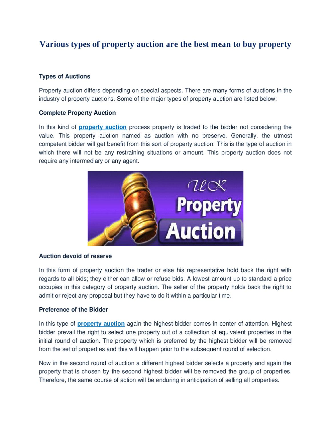 Best Buy Auction >> Various Types Of Property Auction Are The Best Mean To Buy