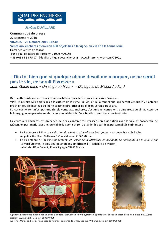 vente aux ench res d 39 objets du vin par j r me duvillard m con 23 octobre 2010 by bourgogne. Black Bedroom Furniture Sets. Home Design Ideas