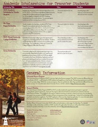 Title Transfer Illinois >> Academic Scholarships Southern Illinois University