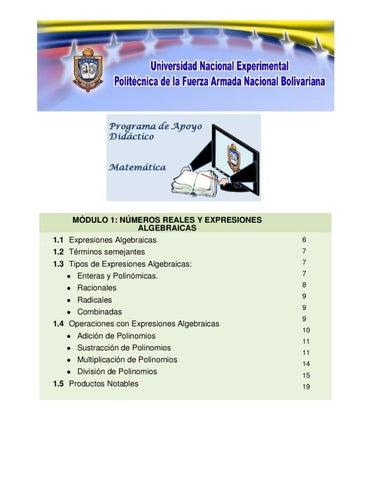 EXPRESIONES ALGEBRAICAS by unefa libro - issuu