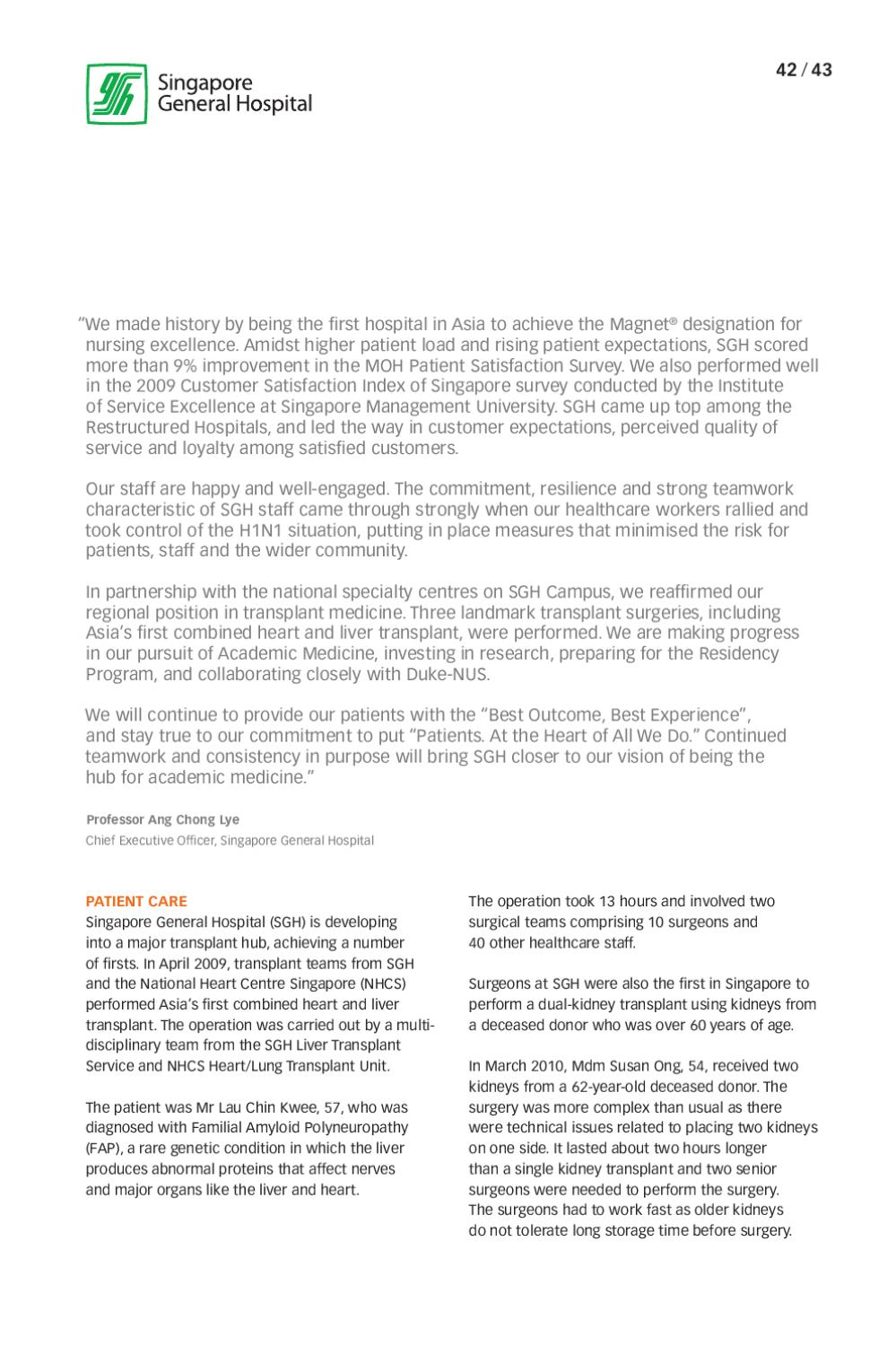 Behind Every Patient - SingHealth Annual Report FY2009 by me+SH - issuu