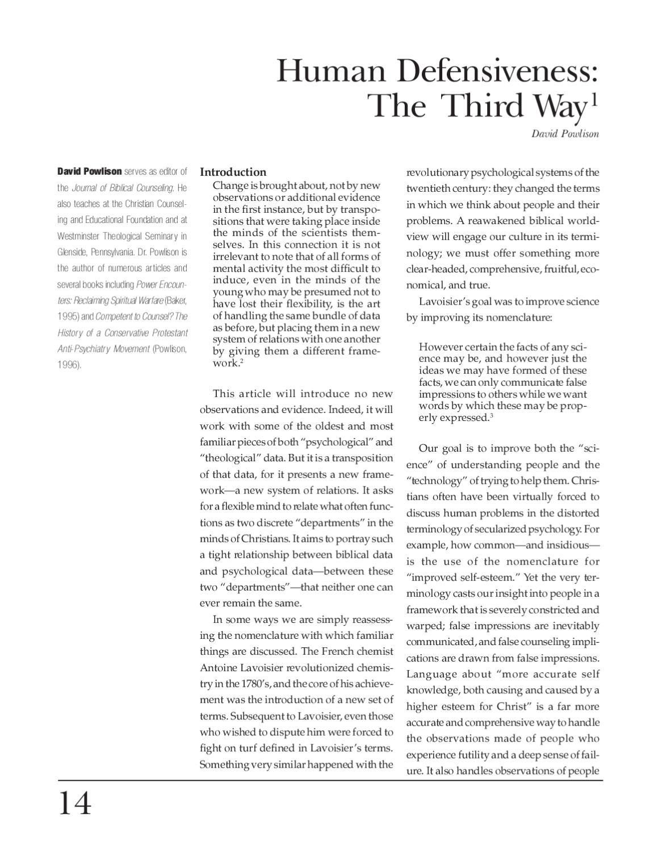 Human Defensiveness-The Third Way - David Powlison by Gospel