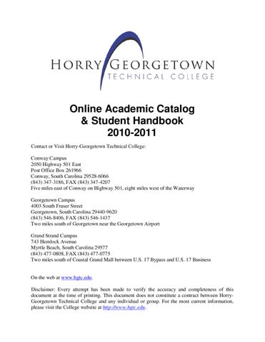 Hgtc Conway Campus Map.Horry Georegetown Catalog And Student Handbook 2010 2011 By Melissa