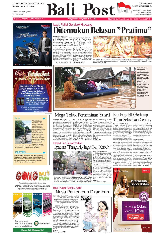 Edisi 16 Oktober 2010 Balipostcom By E Paper Kmb Issuu Rkb Tegal Madu Mongso