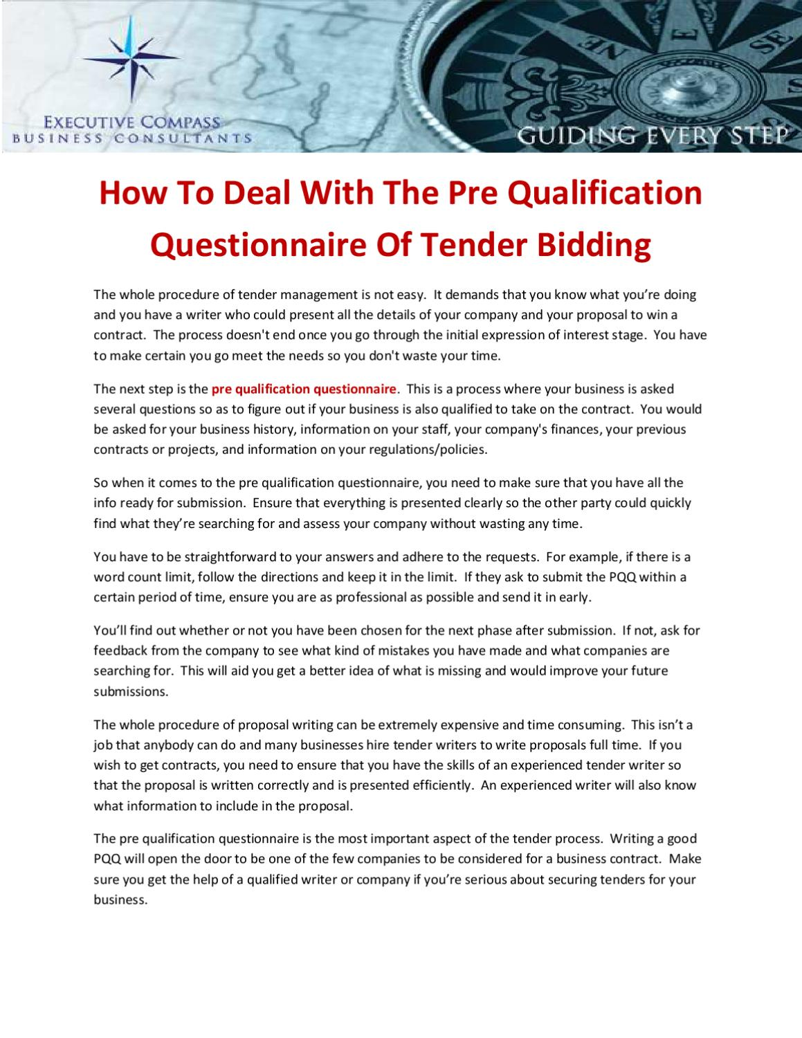 How To Deal With The Pre Qualification Questionnaire Of
