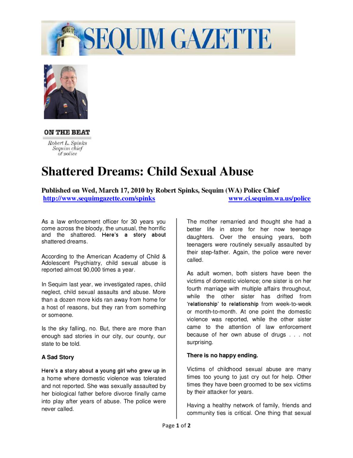 Shattered Dreams: Child Sexual Abuse by Robert Spinks - issuu