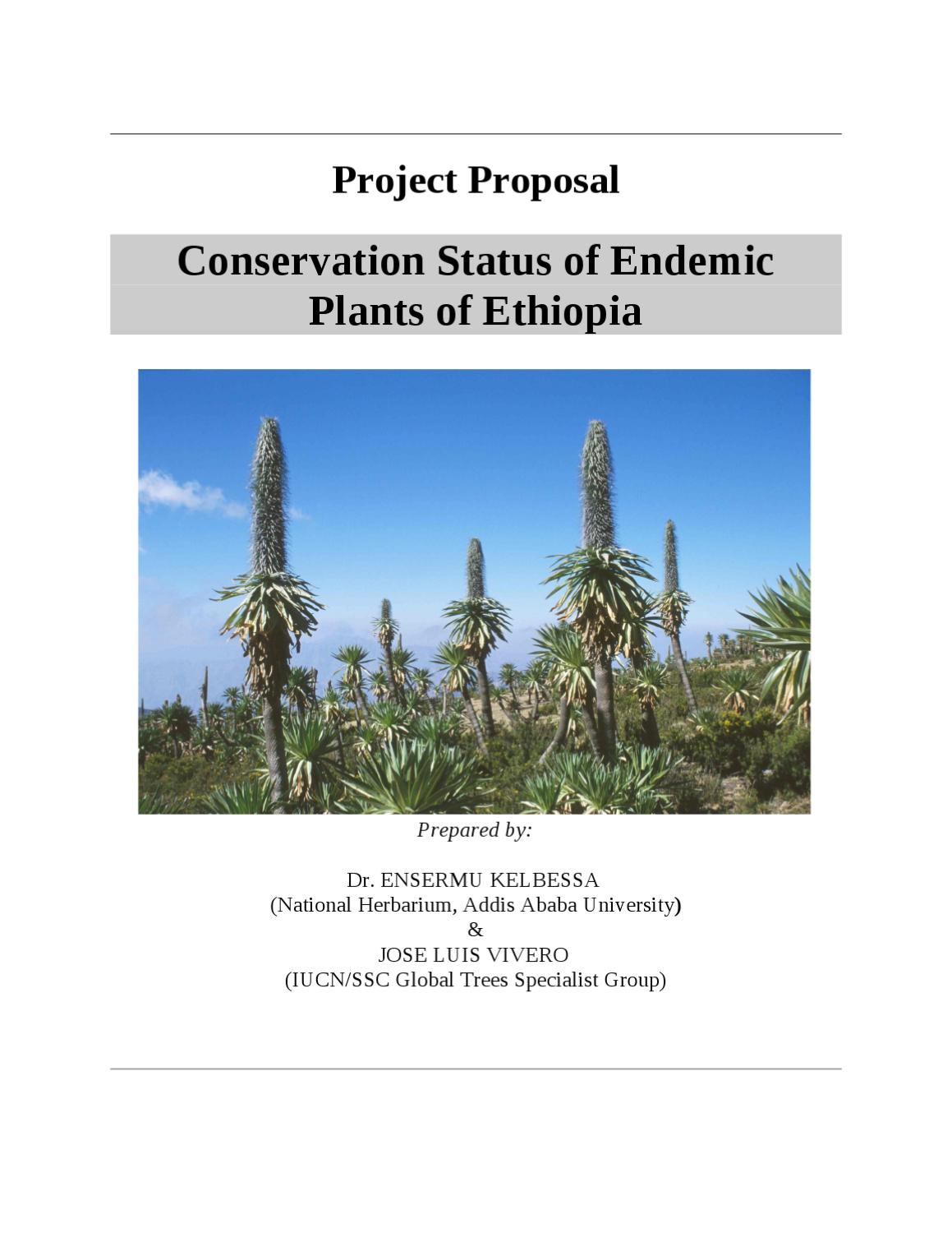 Conservation Status of Endemic Plants of Ethiopia FINAL