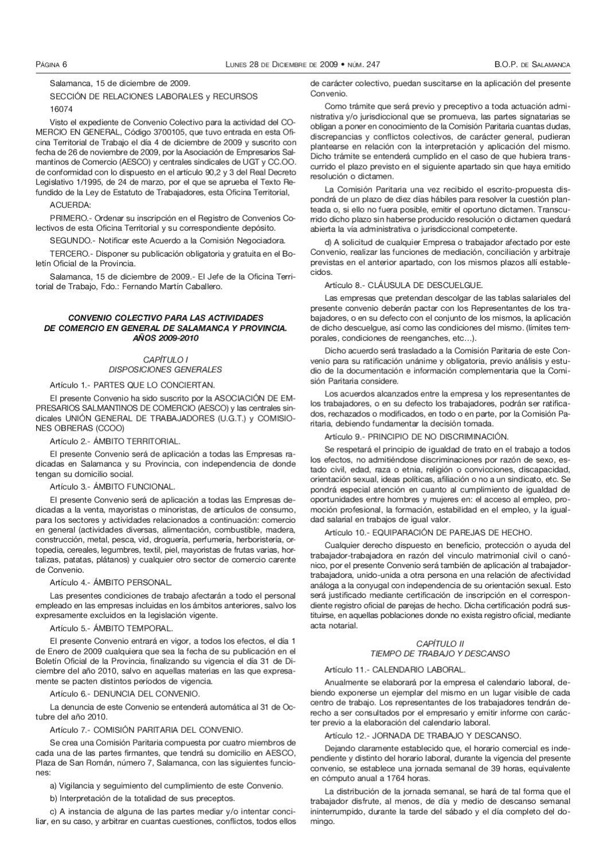 Convenio colectivo para las actividades de comercio en for Oficina empleo salamanca