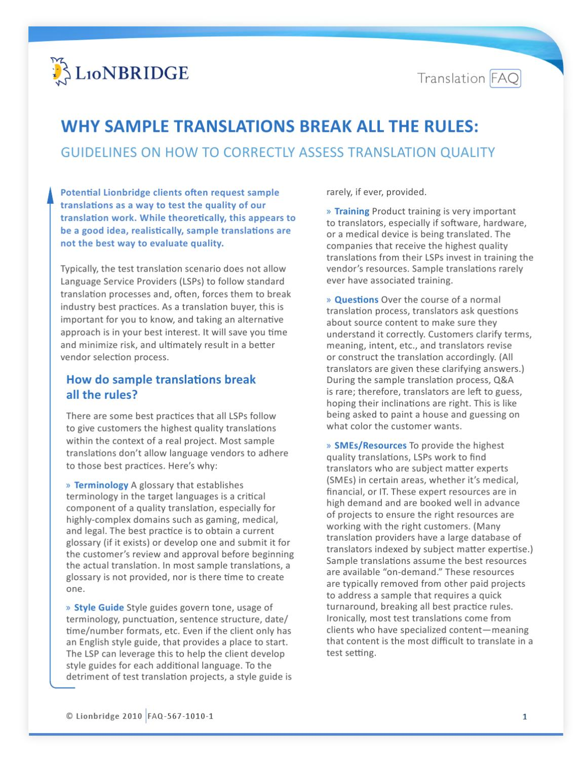 Why Sample Translations Break All the Rules by Patrick Bausemer - issuu