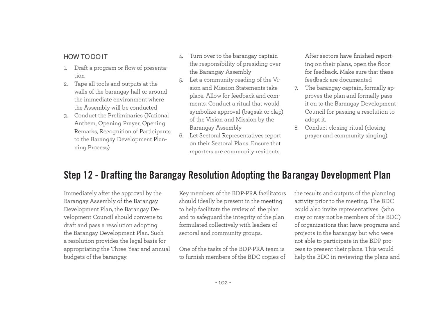A Field Guide - Barangay Governance and Planning by Local