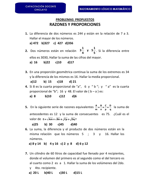PROBLEMAS DE RAZONES Y PROPORCIONES by Jorge Coronel - issuu