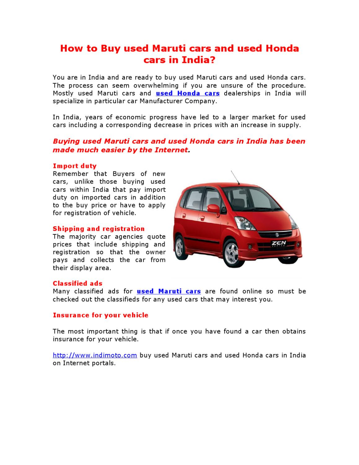 How to Buy used Maruti cars and used Honda cars in India? by ...