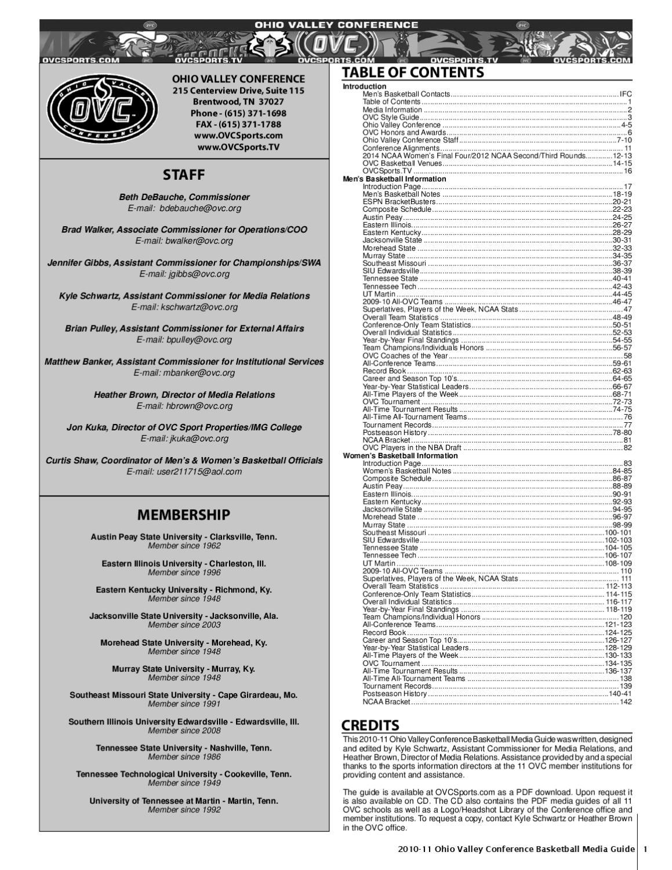 2010-11 OVC Men's & Women's Basketball Media Guide by Kyle