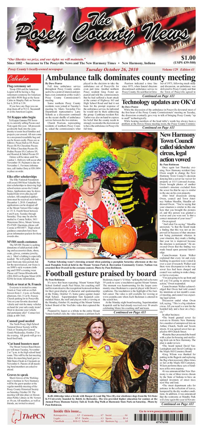 The Posey County News - October 26 2010 Issue by The Posey County ...