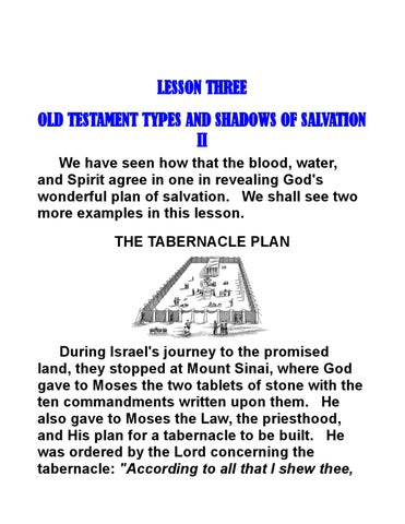 lesson three old testament types and shadows of salvation ii by