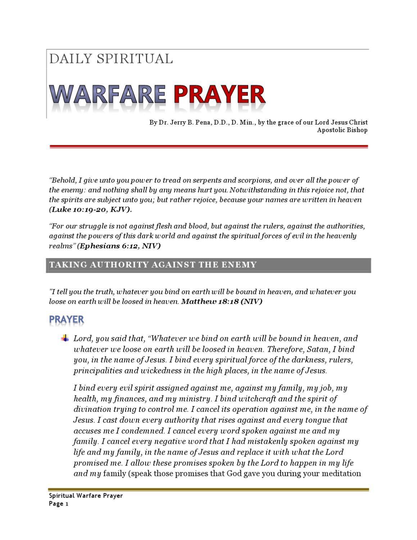 Daily Spiritual Warfare Prayer Vol  1 by Bishop J - issuu