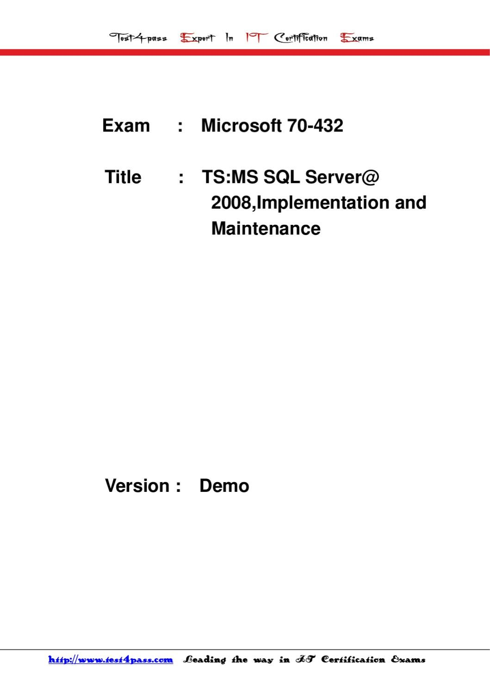 Microsoft 70-432 Dumps PDF