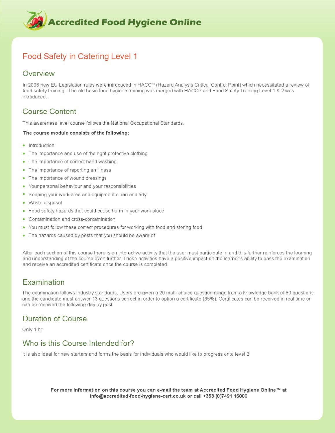 Food Safety In Catering By Online Food Hygiene Course Issuu