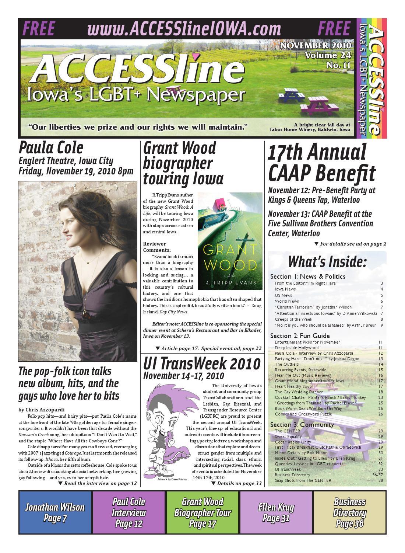ACCESSline, Iowa's LGBT+ Newspaper, November 2010 Issue, Volume 24 No 11 by  ACCESSline - issuu