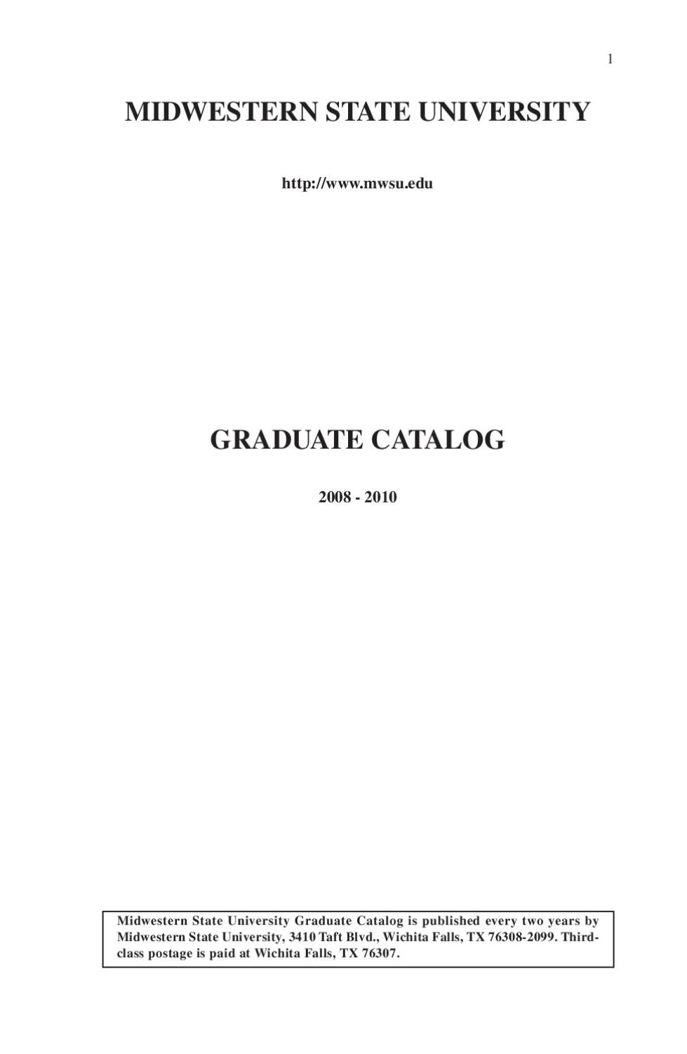 2008-2010 Graduate Catalog by Midwestern State University