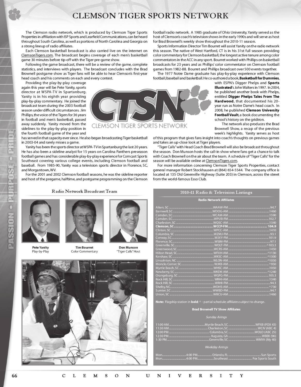 2010-11 Clemson Men's Basketball Media Guide