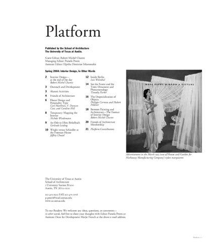 Platform Spring 2004 By Ut School Of Architecture Issuu