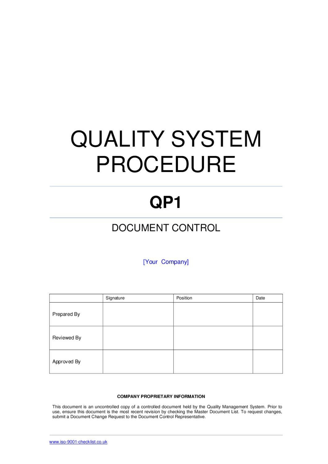 iso 9001 procedures templates - document control procedure example by iso 9001 checklist