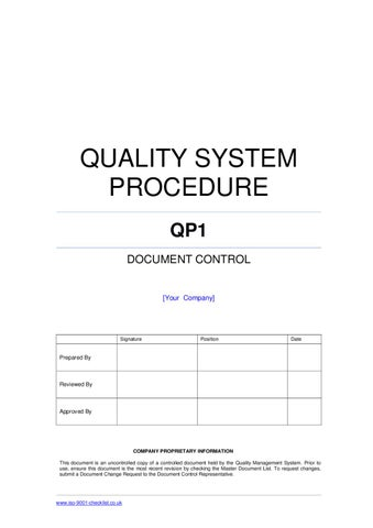 Document control procedure example by iso 9001 checklist for Quality control procedure template