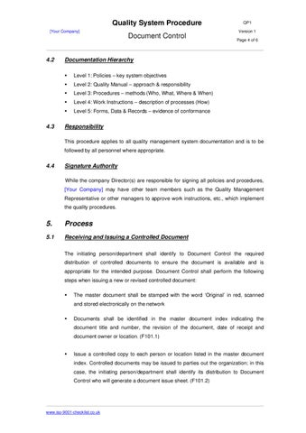 Document Control Procedure Example By Iso 9001 Checklist