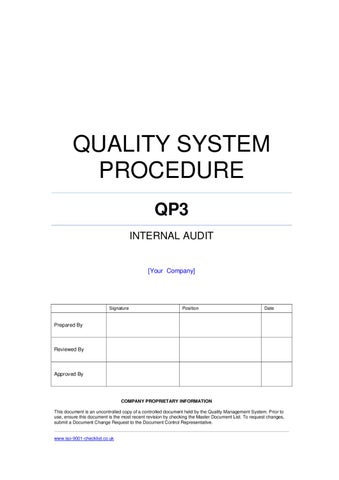 Internal Audit Procedure Example By Iso 9001 Checklist Issuu
