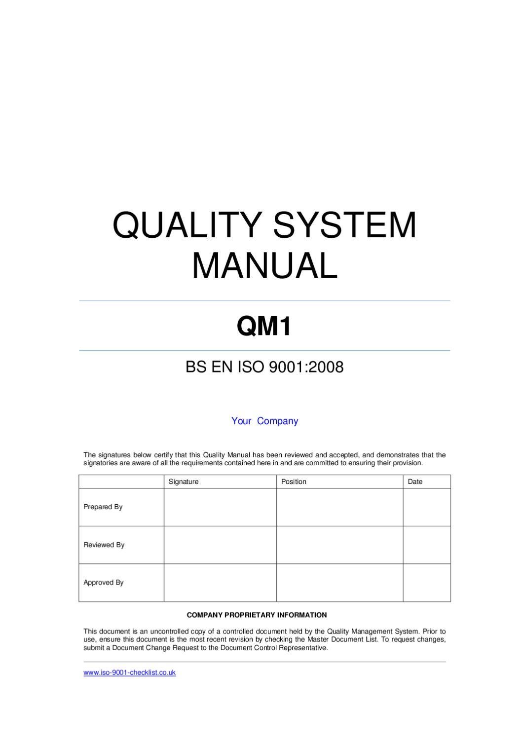Quality manual template example by iso 9001 checklist issuu for Iso 9001 templates free download