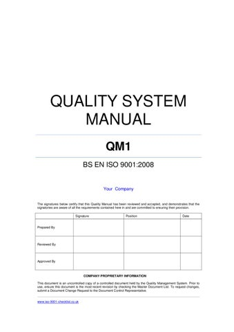 QualityManualTemplateExample By Iso  Checklist  Issuu