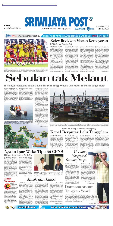 Sriwijaya Post Edisi Kamis 4 November 2010 By Yulius Saputra Issuu Produk Ukm Bumn Tekiro Tang Buaya 10