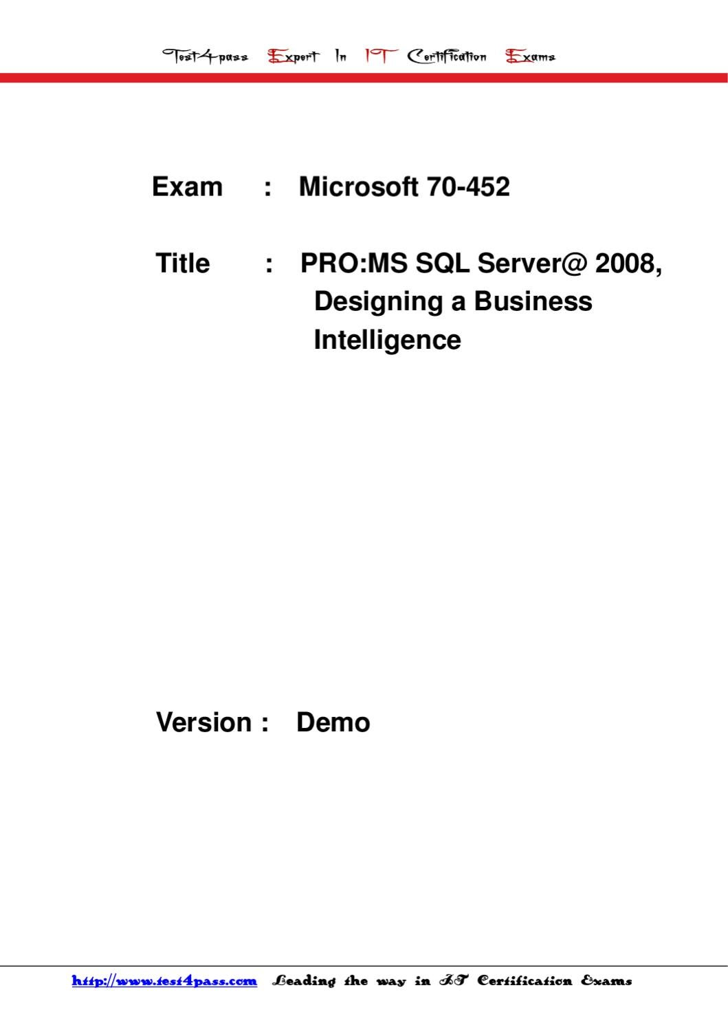 Test4pass Microsoft Exam 70 452 Dumps Vce Torrent By Tonic Jackie