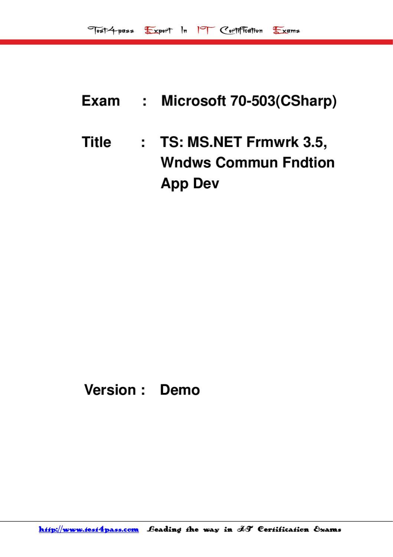 Test4pass Microsoft Exam 70 503csharp Dumps Vce Torrent By Tonic