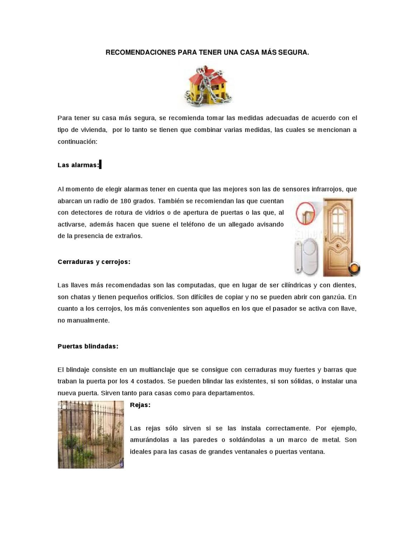RECOMENDACIONES PARA TENER UNA CASA MÁS SEGURA by guerrero seguro ...