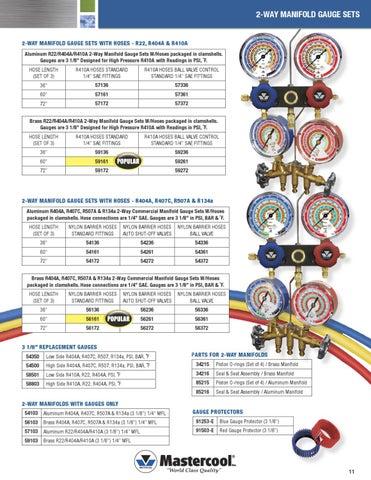 R407C R507A R134a Brass 2-Way Manifold Gauge Mastercool 56172 R404A