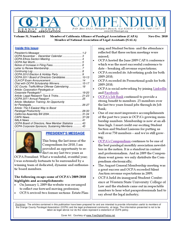 Ocpa Novemberdecember Compendium By Orange County Paralegal