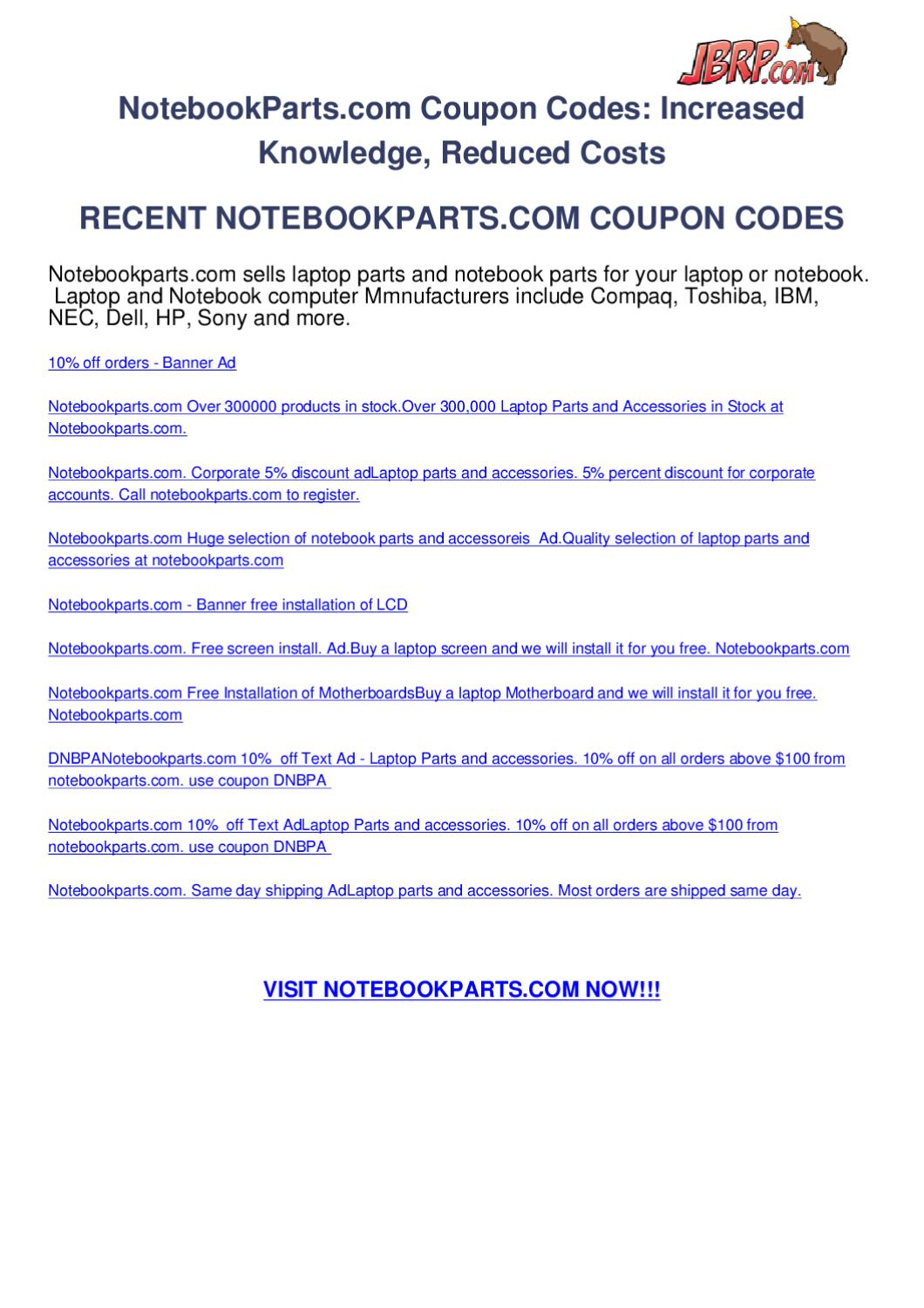 coupon for notebookparts.com