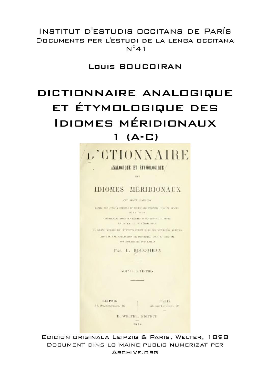 Louis Boucoiran Dictionnaire Analogique Et étymologique By