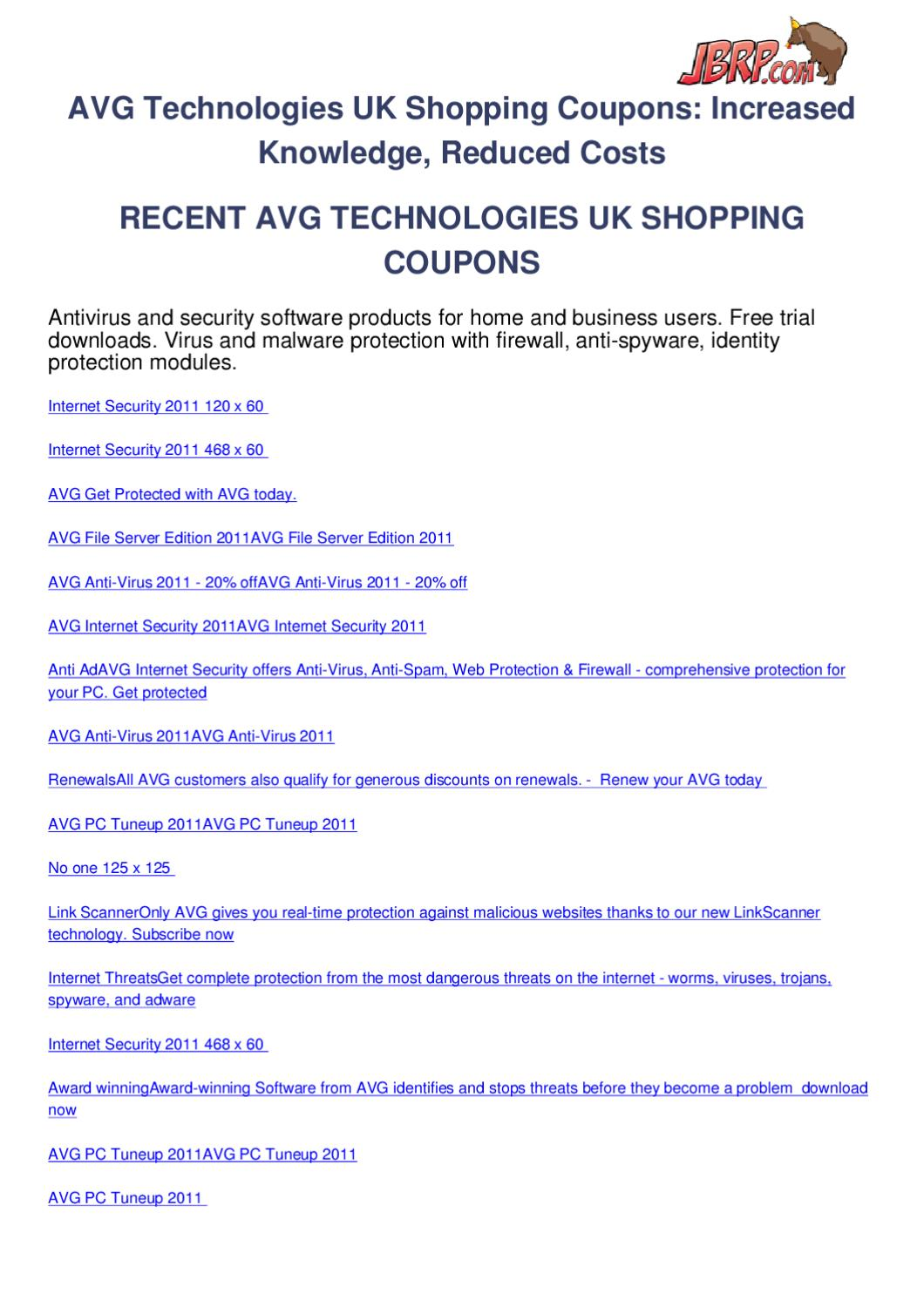 Avg technologies uk shopping coupons by Ben Olsen - issuu
