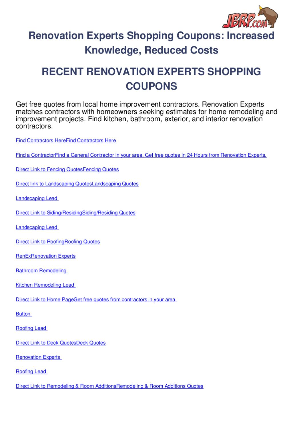renovation experts shopping coupons by ben olsen issuu