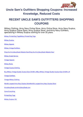 Uncle sams outfitters shopping coupons by Ben Olsen - issuu