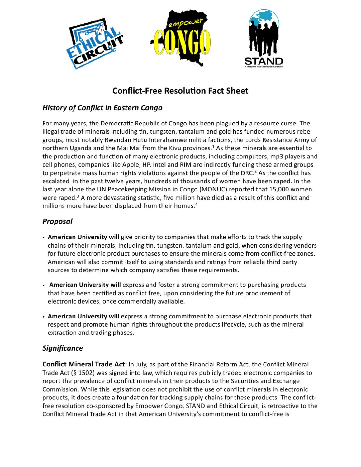 Conflict Mineral Resolution Fact Sheet by Aaron Alberico - issuu