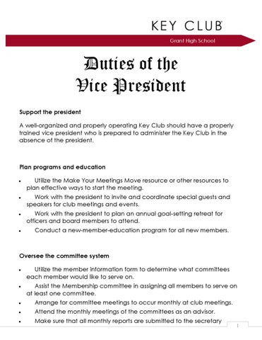 Duties Of Club Vice President By Generals Key Club  Issuu