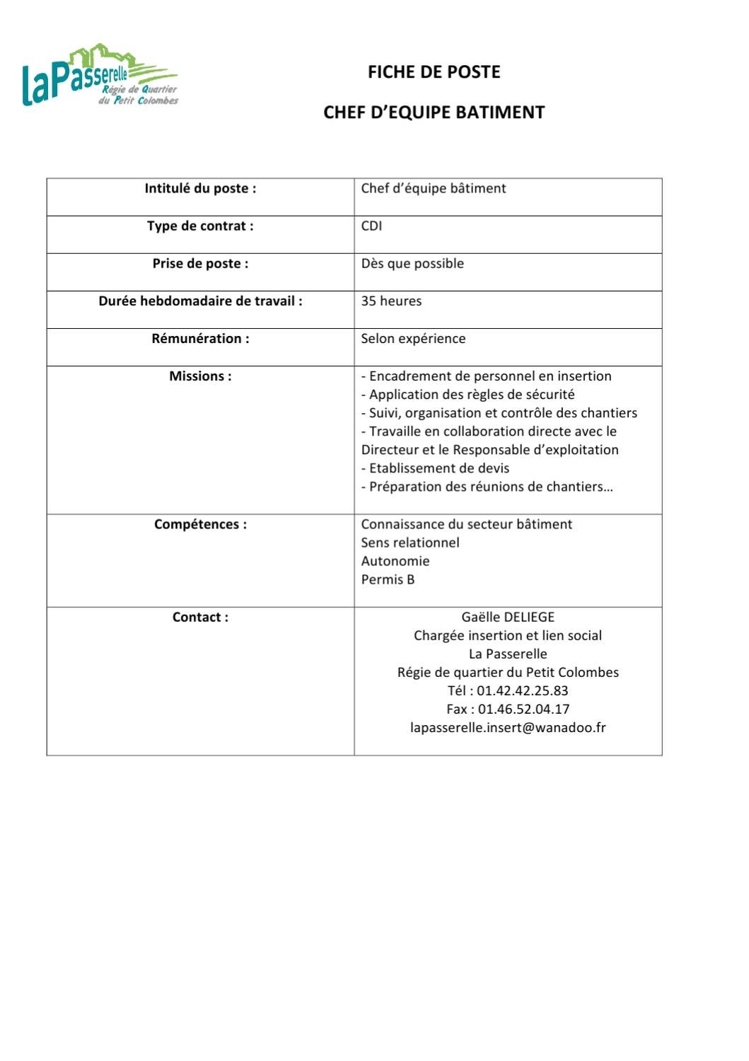 Fiche de poste by sonia rdq issuu for Application suivi de chantier