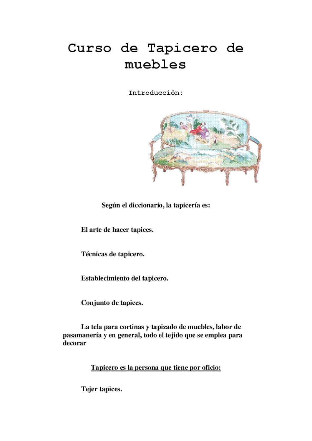 Curso de tapicer a by tapestry workerman issuu for Clasificacion de alfombras