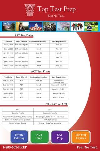 SAT and ACT Test Dates | SAT vs ACT Exam | TopTestPrep com