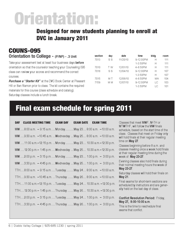 DVC Spring 2011 Class Schedule